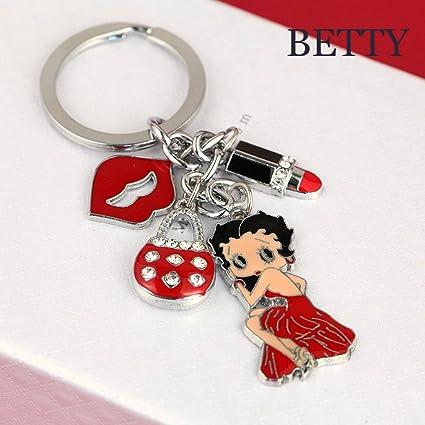 Amazon.com: z265 Cute Betty Boop beso Lipstick Bolso Charms ...