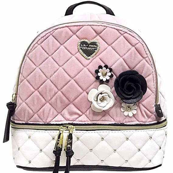 4173d1d46e8 Betsey Johnson Velvet Heart Studded Mini Backpack in Blush  Amazon.co.uk   Clothing