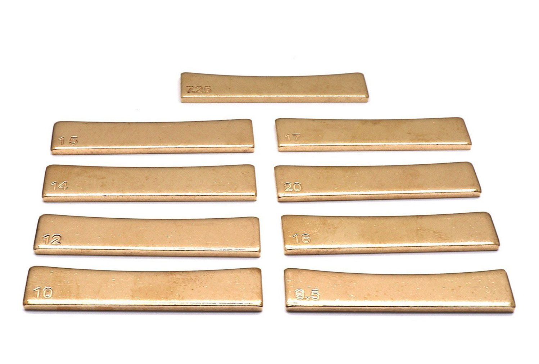 Timiy Golden Brass 7.25/9.5/10/12/14/15/16/17/20 Radian Fret Press Caul Insert for Acoustic/Electric Guitar Electric Bass(9Pcs)