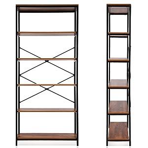 Modrine 5 Shelf Bookcase, Bookshelf Industrial Style Metal and Wood Bookshelves Free Vintage Standing Storage Shelf Units