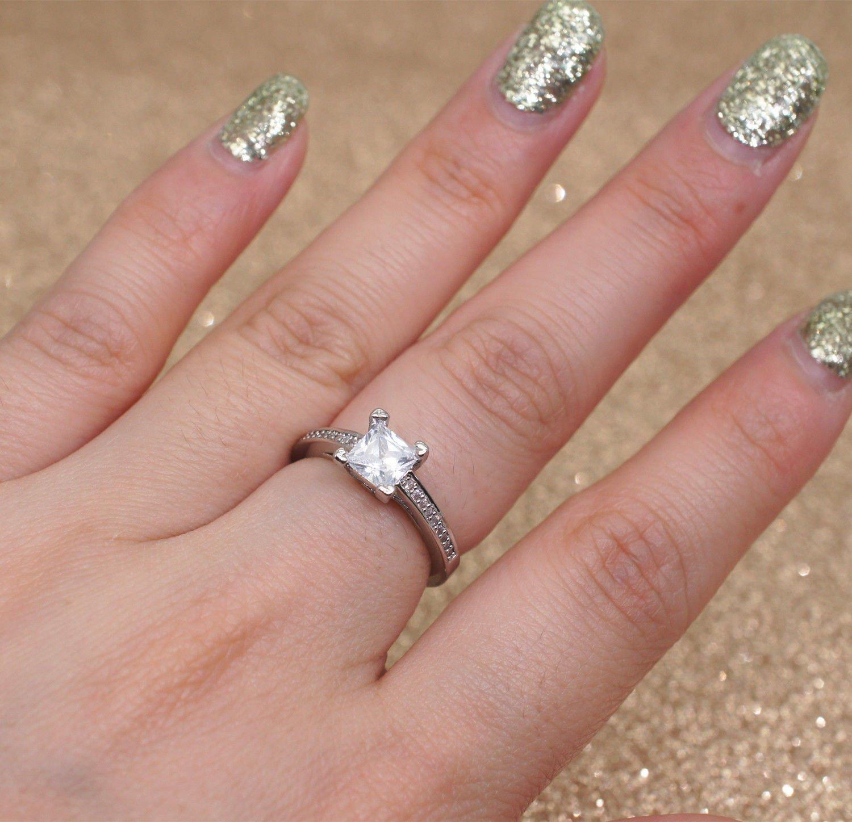 Amazon.com: White Sapphire Birthstone 925 Silver Filled Wedding ...