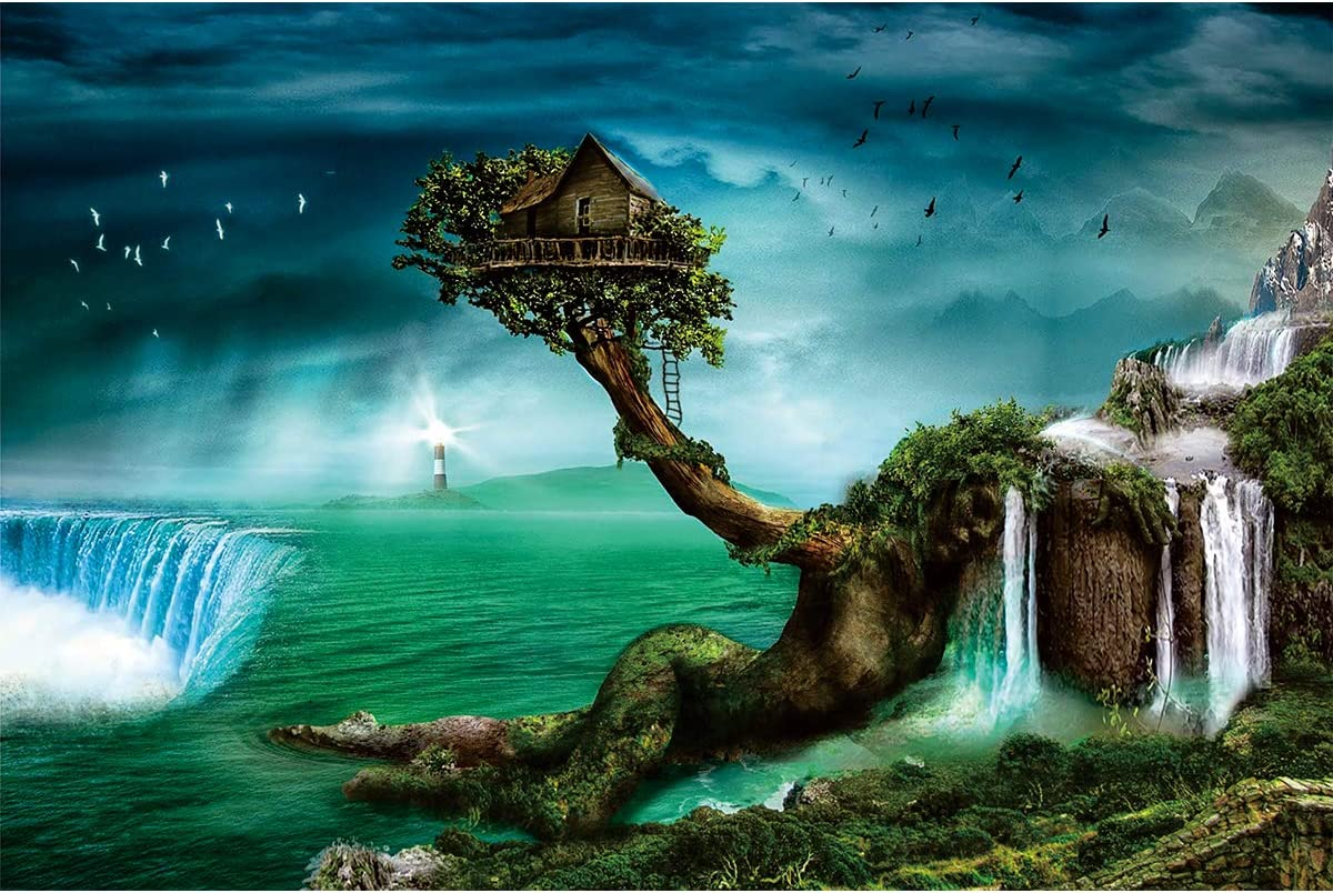Ingooood- Jigsaw Puzzle 1000 Pieces- Fantasy Series- Home on The Waterfall Tree_IG-0649 Entertainment Toys for Adult Special Graduation or Birthday Gift Home Decor