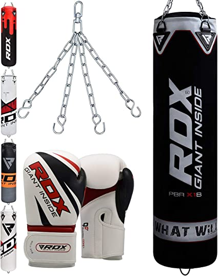RDX Unfilled Punching Bag Heavy Duty Boxing Set Hanging Bags Gloves /& Chain CA