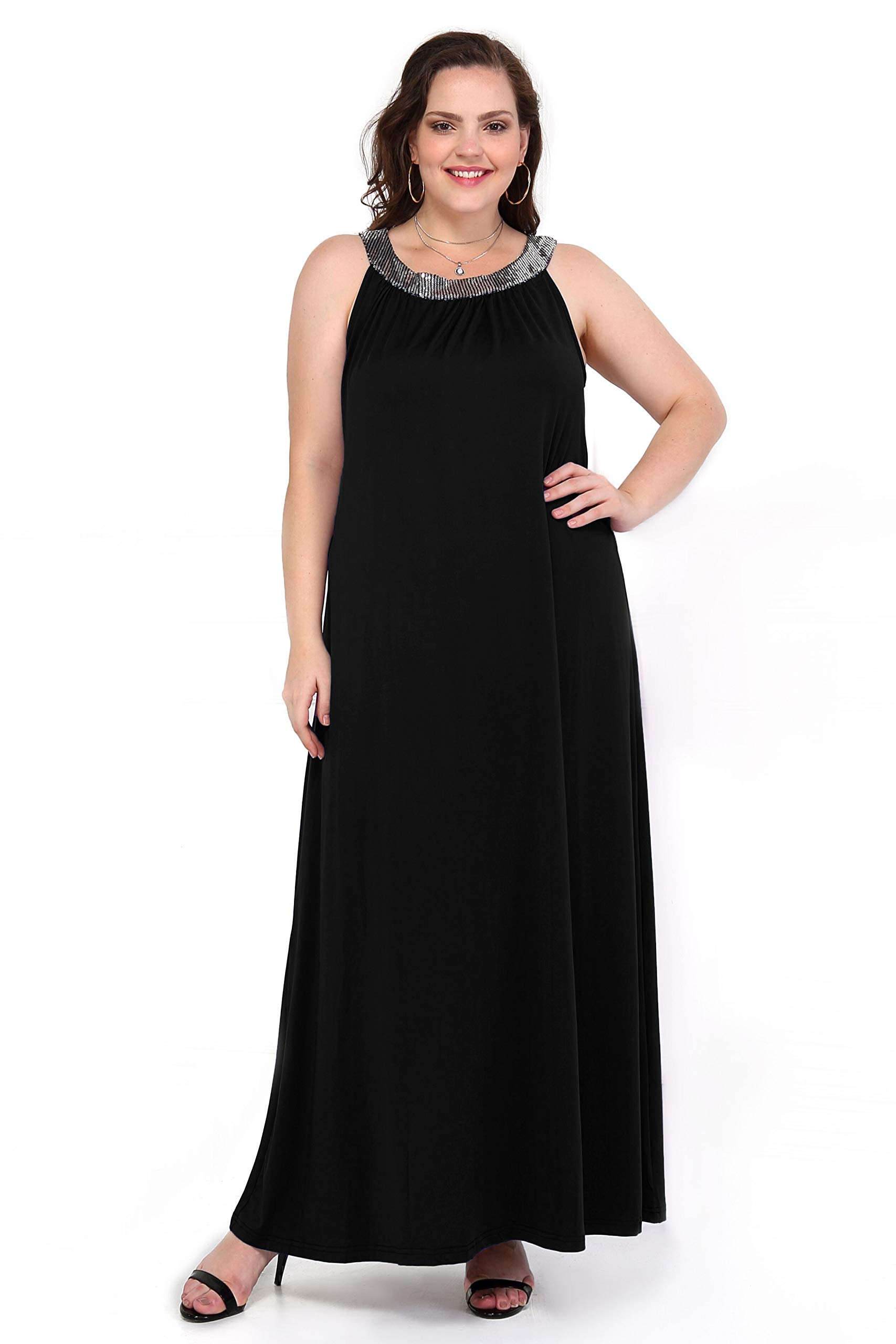 Queen's Here XXXL Womens Maxi Dresses Plus Size Sleeveless Racerback Party Wedding Long Dress (Black, XXXL) by Queen's Here