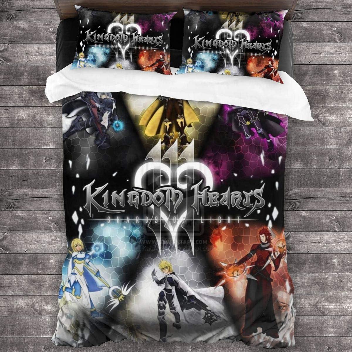 Cawkkj Kingdom-Hearts Kids/Girl Bedding Set Soft Microfiber Twin Bed Comforter King Sheet 3 Piece One Size