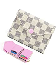 Trifold Wallets for Women Practical Compact Checkered Wallet and Blocking with Card Holder Organizer -PU Vegan Leather
