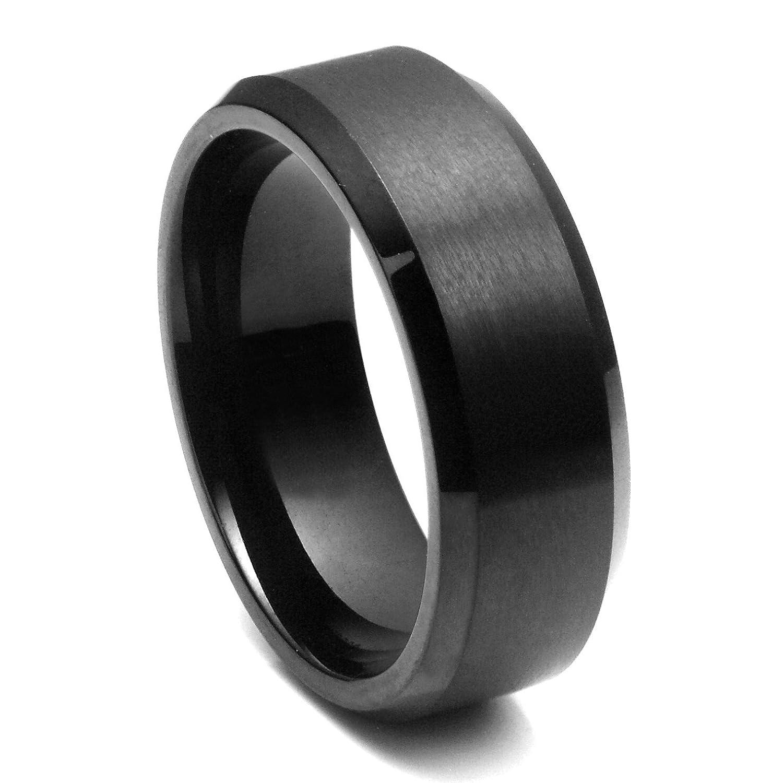8MM Black High Polish Matte Finish Men s Tungsten Beveled Ring