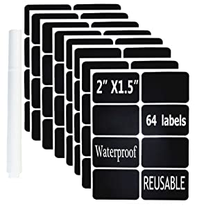 """Chalkboard Vinyl Labels- 64 Premium Reusable Chalkboard Stickers-Removable Waterproof Blackboard Label for Mason Jars, Parties, Craft Rooms, Weddings (Rectangular 2""""x1.5"""" with a White Chalk Marker)"""