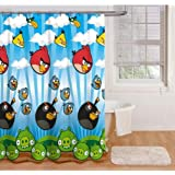 """Angry Birds Fabric Shower Curtain 70"""" x 72"""""""
