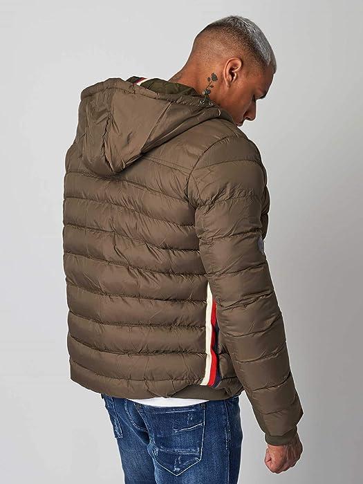 a9a82baa1 Amazon.com: Project X Paris Tricolor Striped Puffer Jacket Kaki ...