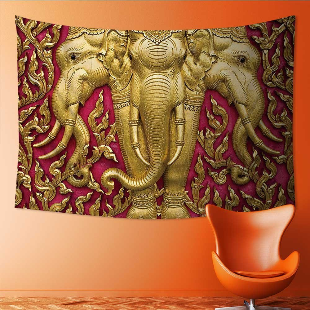 SCOCICI1588 Popular art tapestry Gold Elephants Carved Door in Thai Temple Statue Bathroom Access Room bedroom living room dormitory decoration 93W x 70L Inch by SCOCICI1588