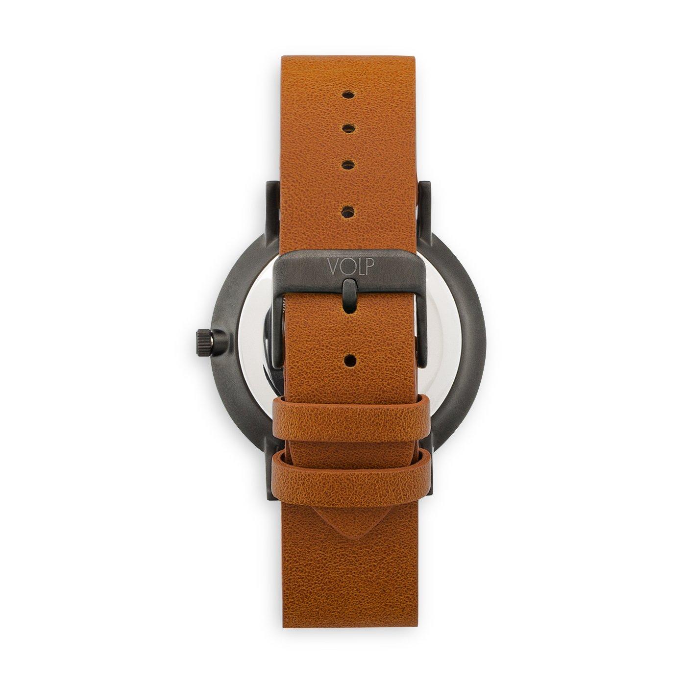 Reloj Vegano Unisex de Pulsera. VOLP Negro Luxe/Camel, de Acero Inoxidable (42 mm). Correas Intercambiables de Piel Vegana.: Amazon.es: Relojes