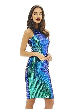 AX Paris Womens Sequin Covered Bodycon Multi Dress(Multicolored, ...