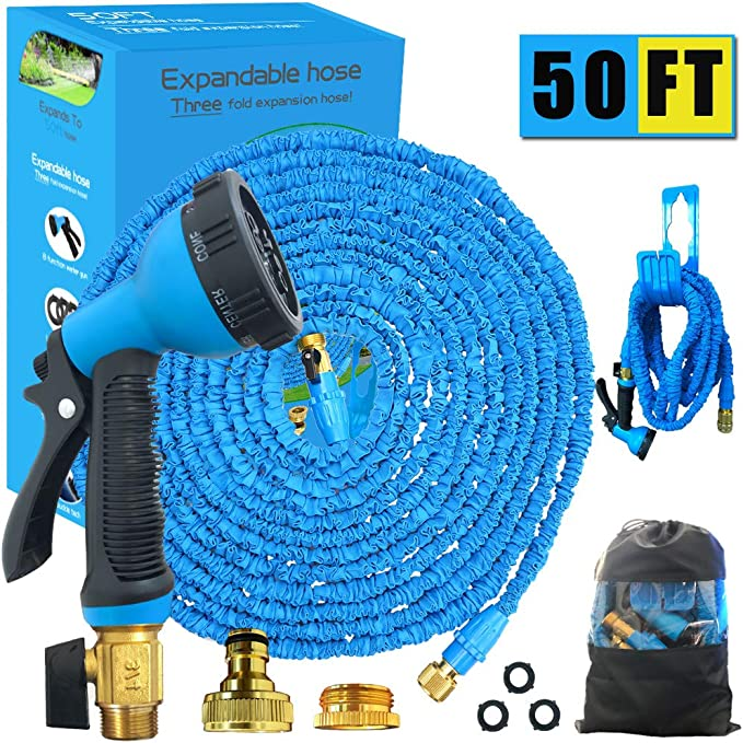 Black50FT Extra Strength Fabric//9 Function Spray Gun//Storage Bag for Home Garden Patio Avyvi Expandable Garden Hose pipe Car Cleaning