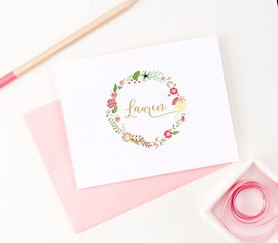 folded floral personalized stationery cards with envelopes boho laurel wreath stationary note cards your - Personalized Stationery Cards