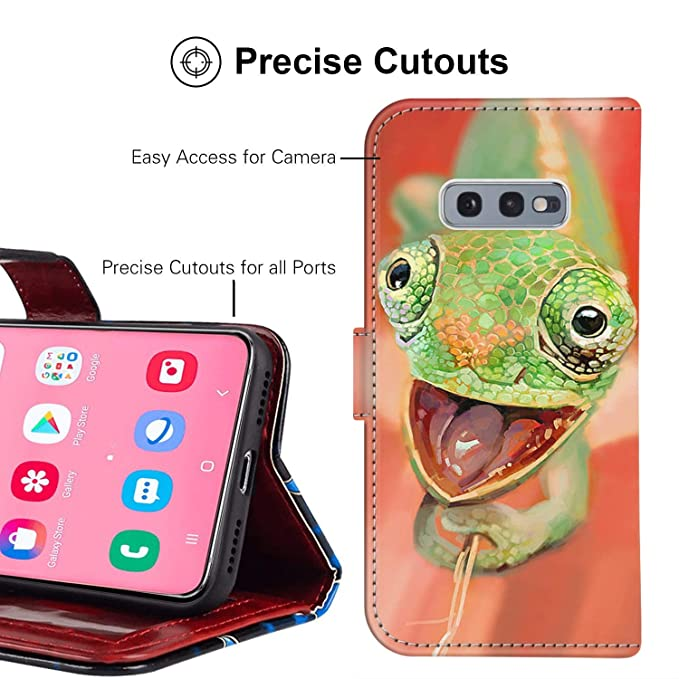 Chameleon Samsung Galaxy S10e Wallet Case for Kickstand PU Leather Card  Slot Magnetic Flip Wristlet Phone Cover Samsung Galaxy S10 Lite Case  Chameleon
