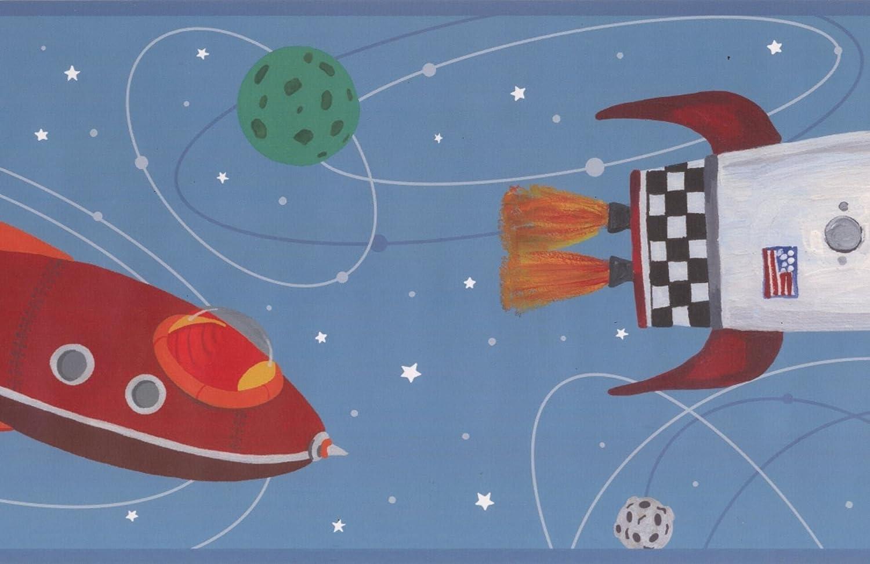 Roll 15 x 9 Rocket Spaceship Planets Stars Teal Wallpaper Border Kids Design