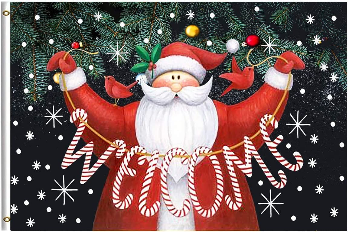 Merry Christmas Santa Claus Welcome Home Holiday Garden Flag 3x5 Feet with Brass Grommet Wind Double Stitch Winter Snow Snowflake Christmas Tree Bells Banner Flag Breeze Decorations for Indoor Outdoor