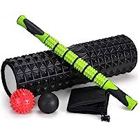 Odoland Grote maat Foamrollers 5-delige Set met Lichtgewicht Spierroller Stick en 2 Massageballen, Hoge Dichtheid voor…
