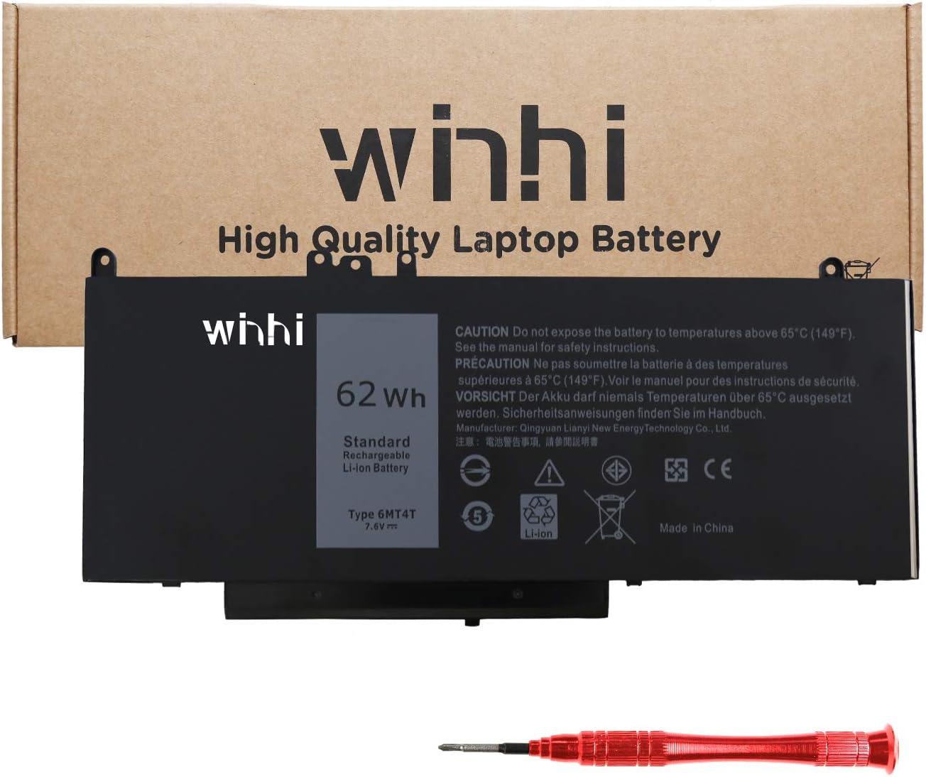 2021 New WINHI 6MT4T Laptop Battery for Dell Latitude 14 E5470 15 E5570 5570 5470 Precision 3510 7V69Y TXF9M 79VRK 7.6V 62Wh