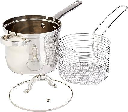 4 qt inoxidable freidora cesta Set – Freidora Kit – Hornillo, freidora con cesta y tapa de cristal