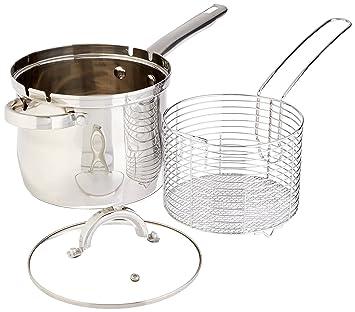 4 qt inoxidable freidora cesta Set - Freidora Kit - Hornillo, freidora con cesta y tapa de cristal: Amazon.es: Hogar