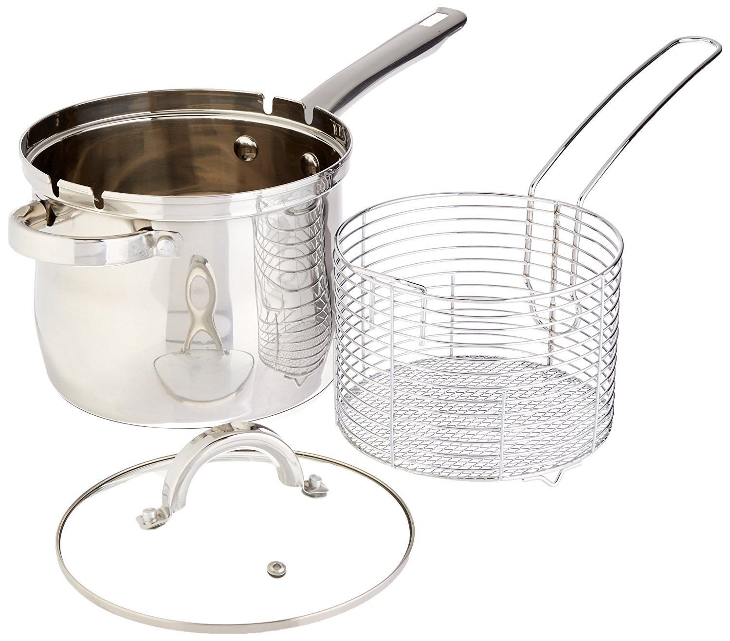 4 QT Stainless Deep Fryer Basket Set - Deep Fryer Kit - Stovetop Deep Fryer With Basket & Glass Lid