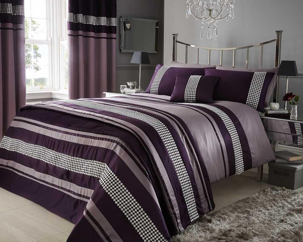 Plum Purple Metallic Detail Super King Duvet Quilt Cover Bed Set Bedding Amazon Co Uk Kitchen Home