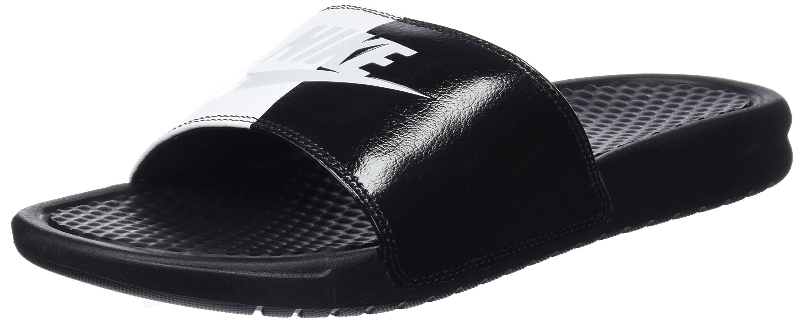 NIKE Men's Benassi Just Do It Sandal Black/Pure Platinum-Black-White, 10