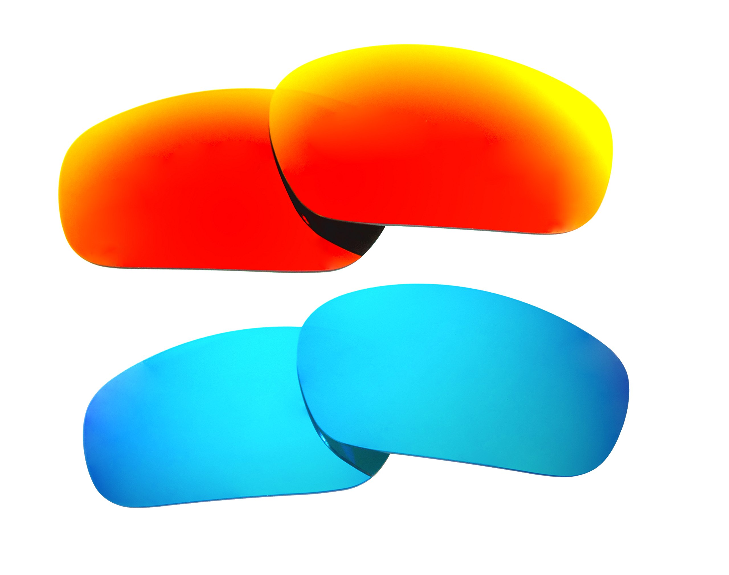 2 Pairs Polarized Replacement Sunglasses Lenses for Oakley Jawbone with UV Protection(Ice Blue and Fire Red Mirror)