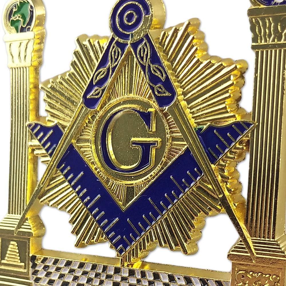 Masonic Car Emblem Altar Pillars Square /& Compass Freemason Auto Badge