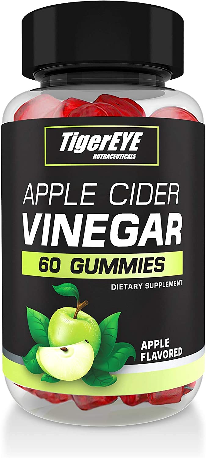 Tigereye Apple Cider Vinegar Gummies - Apple Flavored, Extra Strength, Gluten-Free Alternative to ACV Capsules, Drinks, Pills with The Mother, Apple Shaped – (1 Pack - 60 Count)