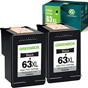 GREENBOX Remanufactured Ink Cartridge 63 Black Replacement for HP 63 63XL for HP OfficeJet 3830 5255 5258 Envy 4520 4512 4513 4516 DeskJet 1112 1110 3630 3632 3634 2130 2132 Printer (2 Black)