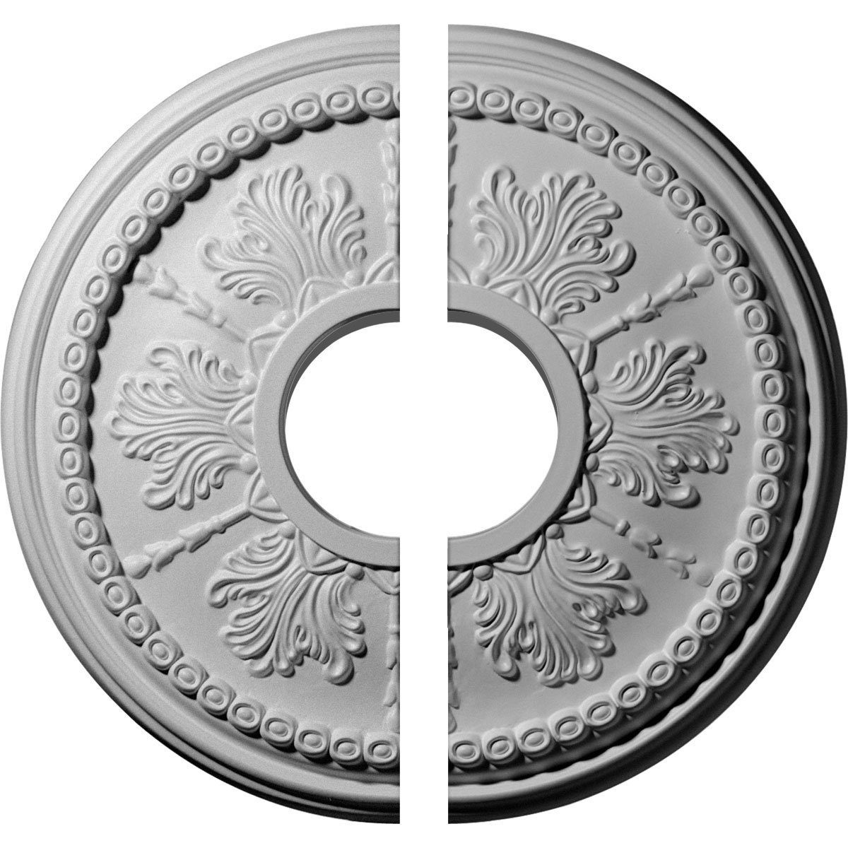 Ekena Millwork CM13TI2 13 7/8'' OD x 3 ID x 1 1/4'' P Tirana Ceiling Medallion, Two Piece (Fits Canopies up to 4 3/4''), Factory Primed and Ready to Paint