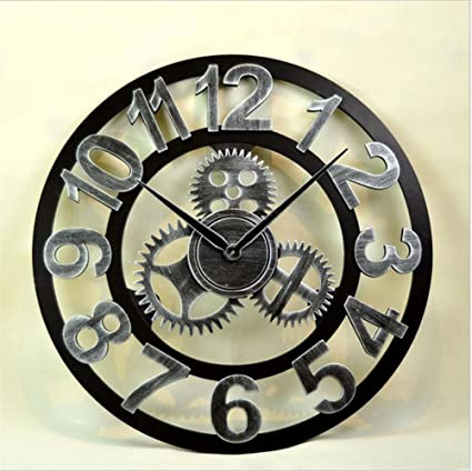 Reloj de Pared 3DHollow Gear Relojes Retro Bar / Café / reloj de pared / mesa