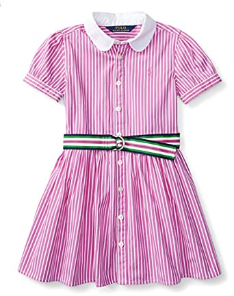 76317489c79b Image Unavailable. Image not available for. Color  Ralph Lauren Girls   Striped Cotton Shirtdress ...