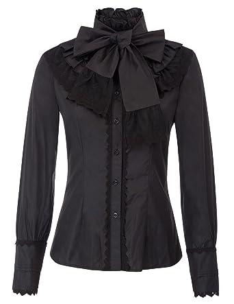 5861980df5 Belle Poque Women s Vintage Lolita Bow Tie Neck Ruffle Victoria Blouse Tops  Black Size S