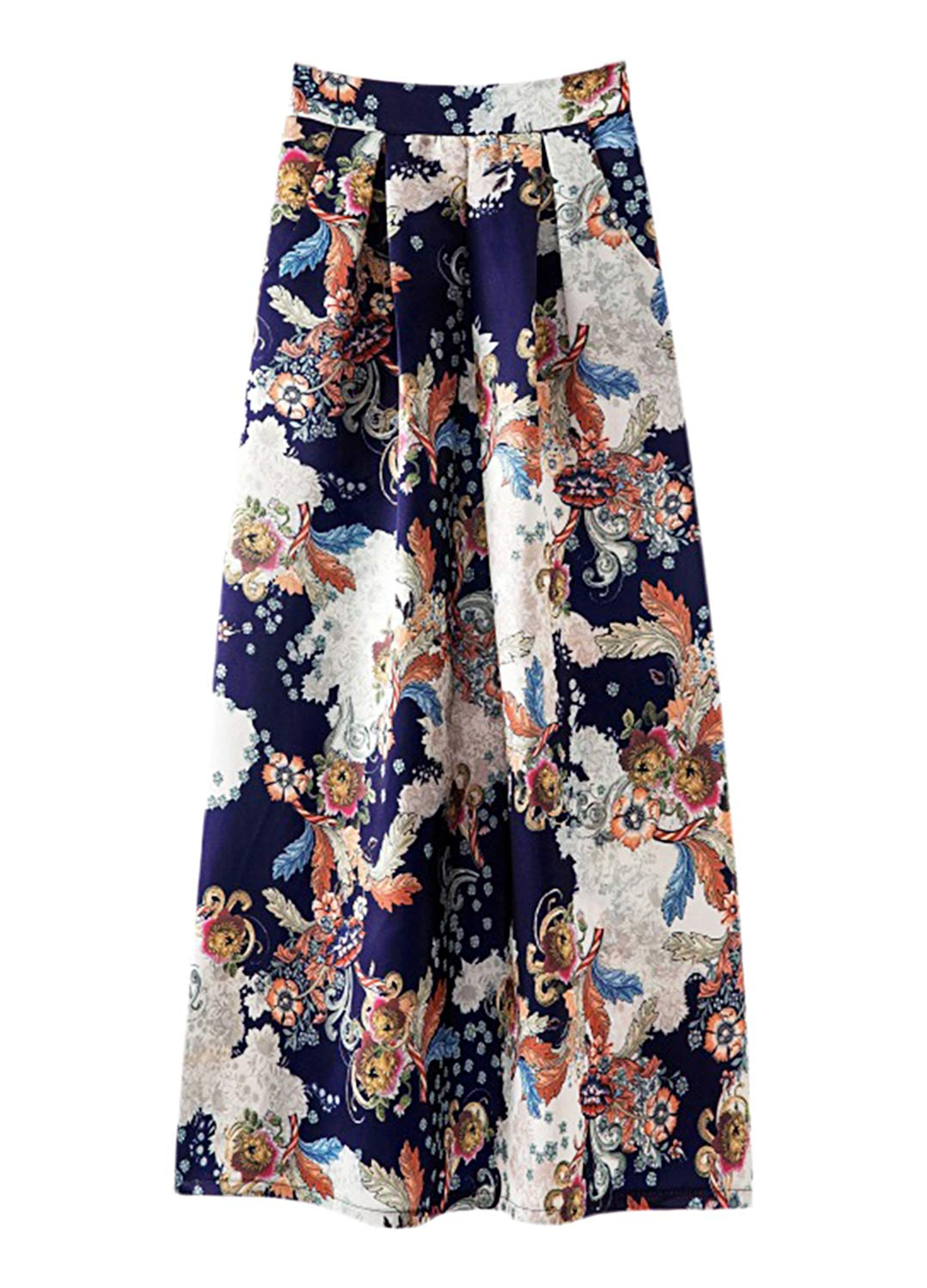 Novia's Choice Women African Floral Print Pleated High Waist Maxi Casual A-Line Skirt(Navy Geometric M)