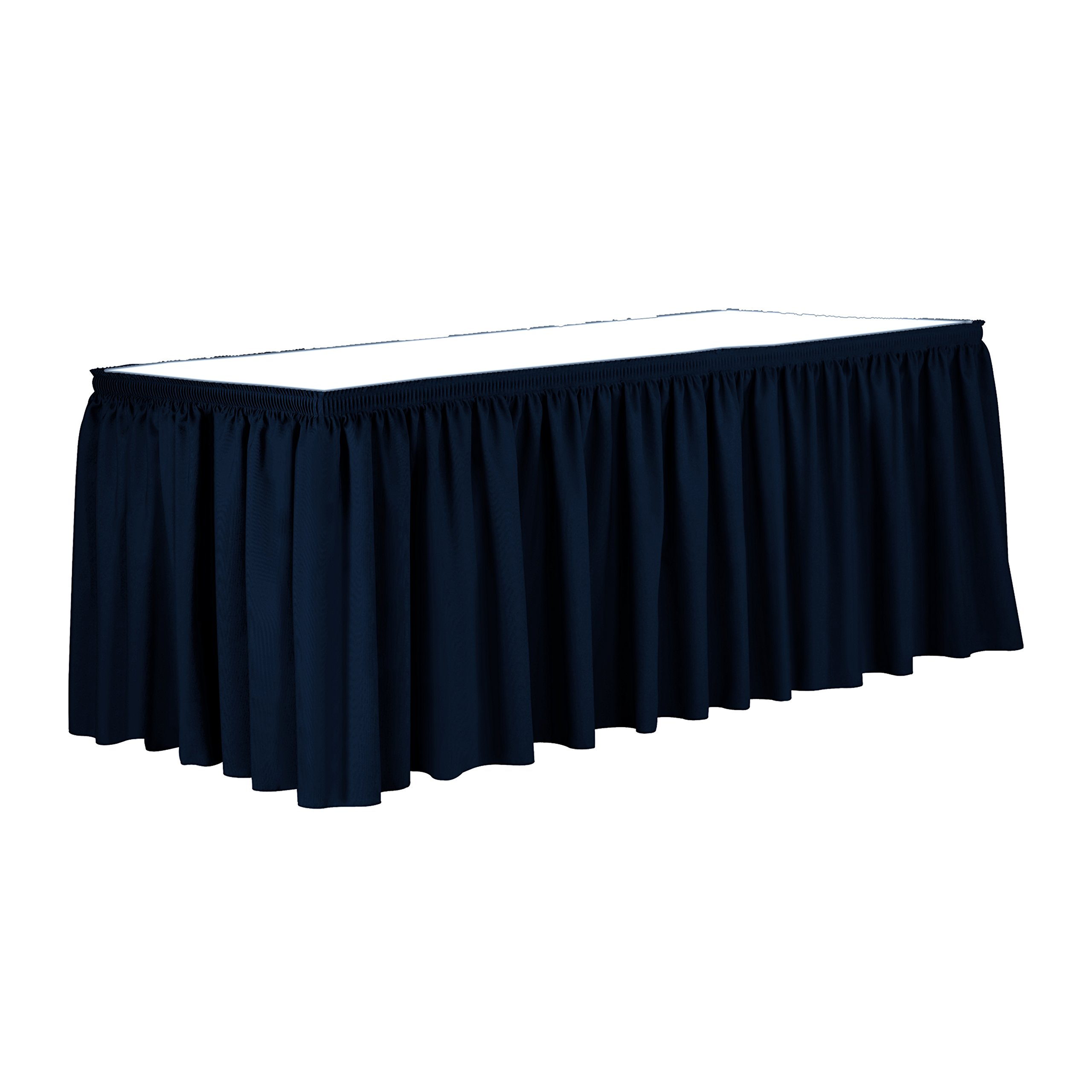 Ultimate Textile 14 ft. Shirred Pleat Polyester Table Skirt - 36'' Counter Serving Height, Navy Blue