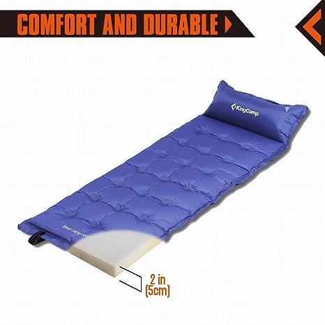 KingCamp Esterilla Colchón Autohinchable Portátil 196 x 63 x 5 cm Colchoneta para Camping al Aire Libre: Amazon.es: Deportes y aire libre