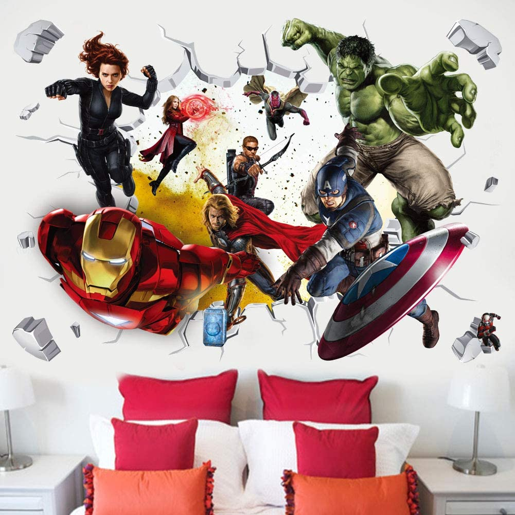 MOE MOE Avengers Wall Decals Marvel Wall Stickers 3D Wall Decor for Boys Bedroom 40×60 cm, PVC, Removable