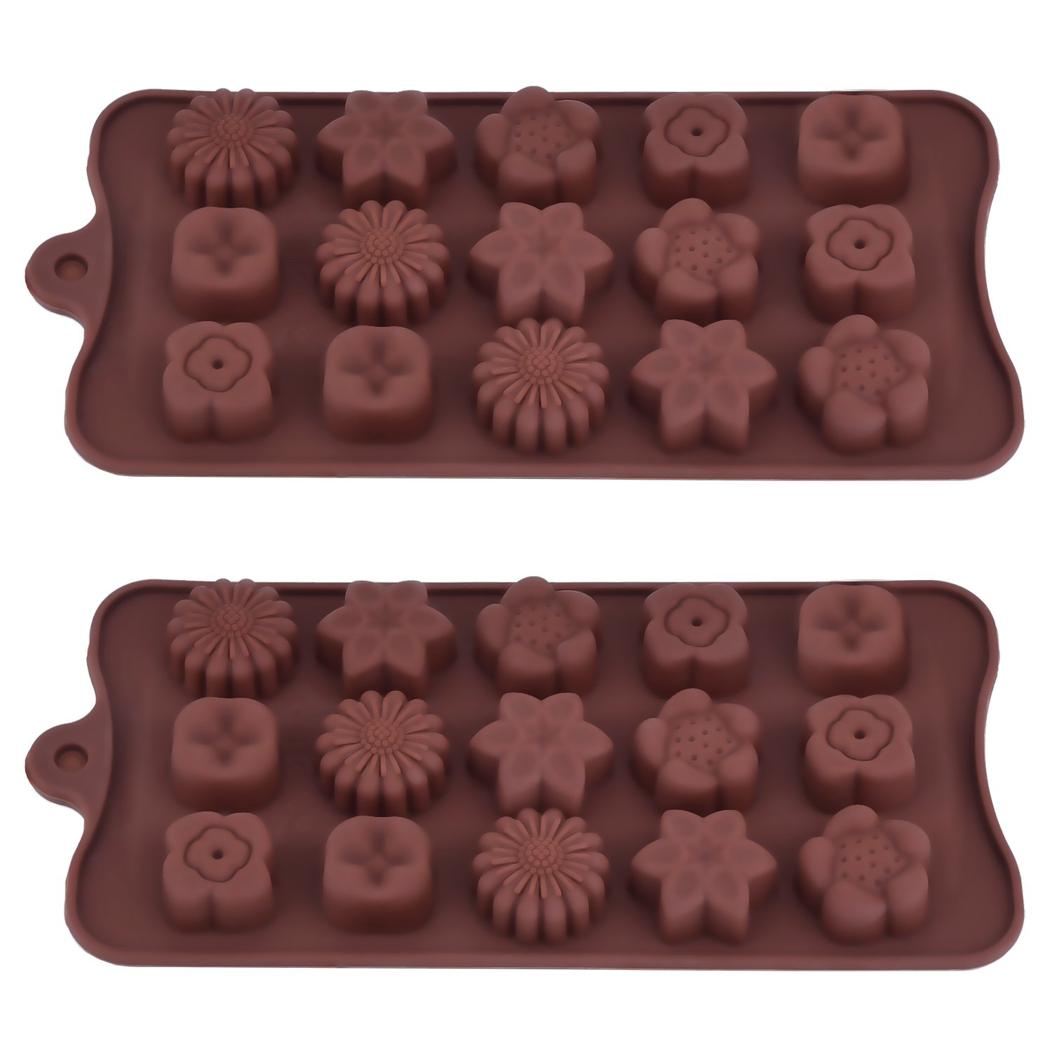 2 Pack Silicone Chocolate Molds Flowers Shape Cake Candy Mould Jelly Ice Tray for Handmade DIY Coffee