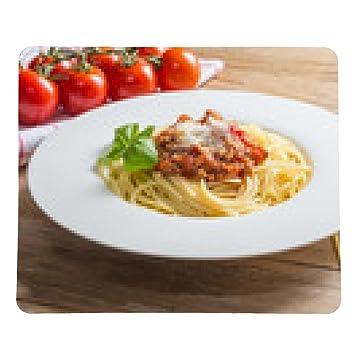 alfombrilla de ratón Espaguetis con salsa boloñesa queso parmesano y albahaca - rectangular - 23cm x