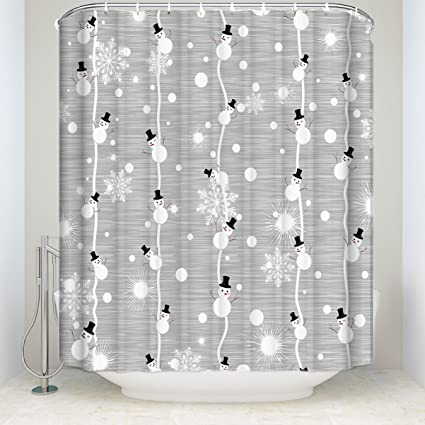 Libaoge Winter Snowman And Shiny Snowflake Grey Mildew Free Waterproof Fabric Polyester Shower Curtain