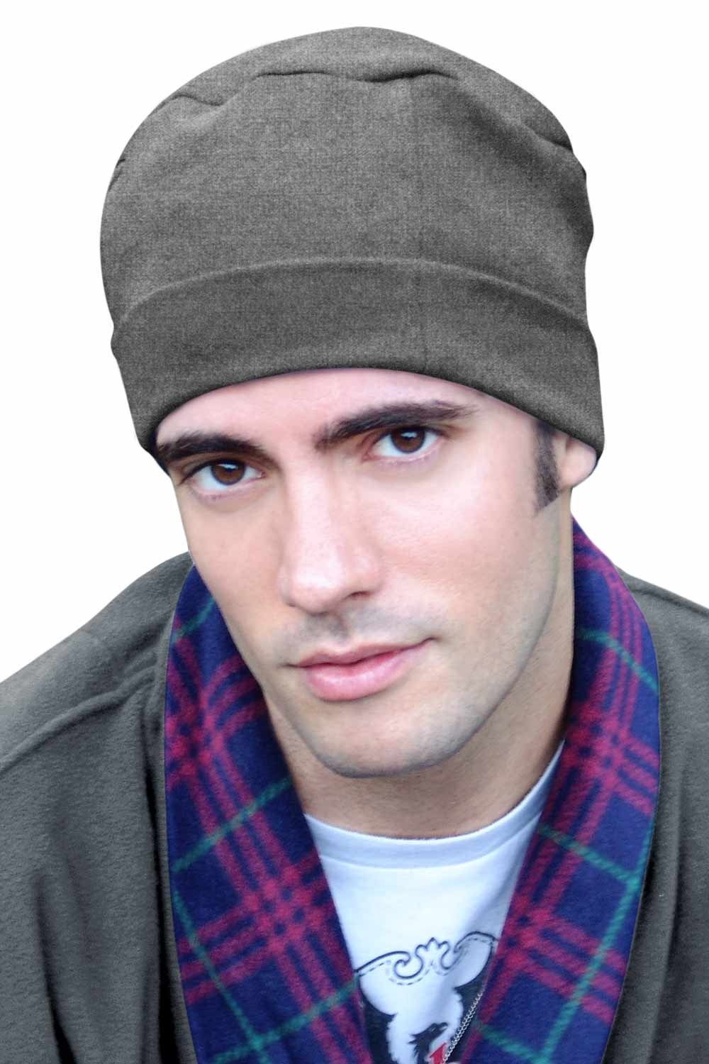 Mens Sleep Cap - 100% Cotton Night Cap for Men - Sleeping Hat Charcoal Heather Headcovers Unlimited SL-314-6754