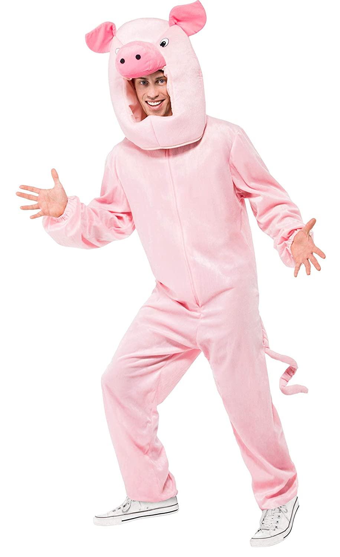 Smiffys Mens Pig Costume Bodysuit and Hood