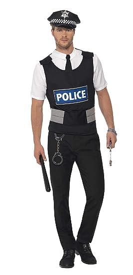 SmiffyS 38833M Kit Instantáneo De Policía Con Chaleco Camisa Postiza, Sombrero Y Esposas, Negro, M - Tamaño 38