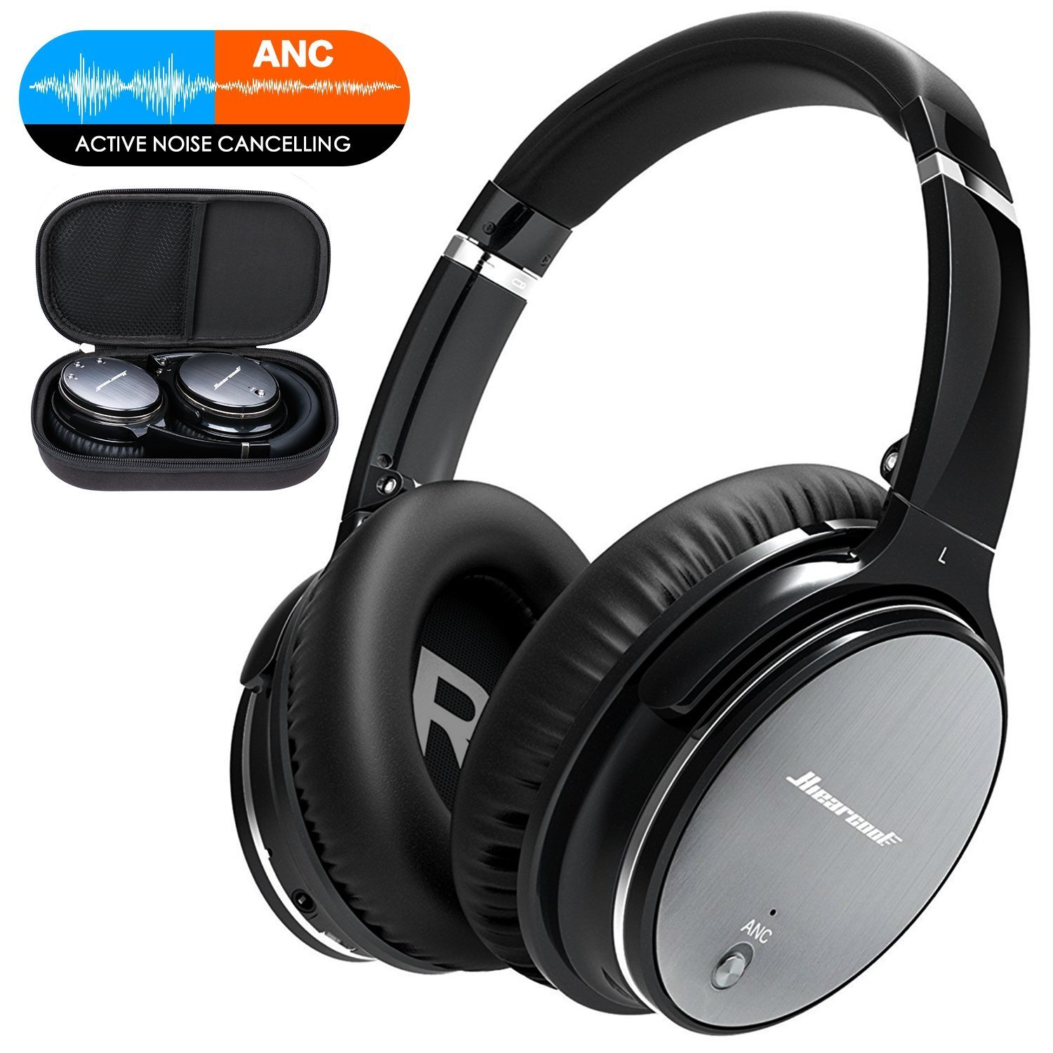 Active Noise Cancelling Bluetooth Headphones with Microphone Deep Bass Wireless Headphones Over Ear, Comfortable Protein Earpads, Wired Mode,30H Playtime for Travel Work TV Computer iPhone -Iron Grey