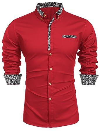 42248b947f3 COOFANDY Men's Floral Dress Shirt Long Sleeve Slim Fit Casual Cotton Button  Down Shirts