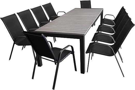 XXL Mobiliario de jardín Asiento – Muebles de Jardín Terraza Conjunto de muebles mesa extensible polywood 205/275 x 100 + 10 x silla apilable con cordaje: Amazon.es: Jardín